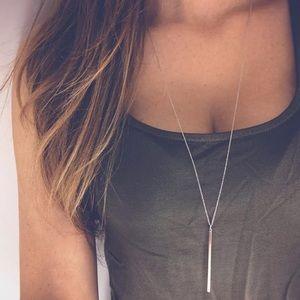 Long Pendant Necklace Silver